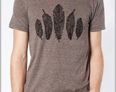Bird Feathers Boho Nature T shirt Unisex Men's Women's - American Apparel Tee Tshirt  Full Spectrum Apparel