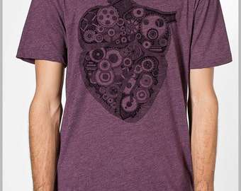 Anatomical Heart Steampunk Gears T shirt Valentines Unisex Men's Women's American Apparel Tee Tshirt  Gift for him her Science Anatomy