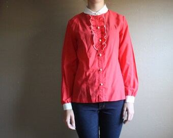 Vintage 1960s Red and White Peter Pan Collar Blouse Secretary Top Button Up Shirt With Ruffle Front Mod Retro Hipster Long Sleeve Small