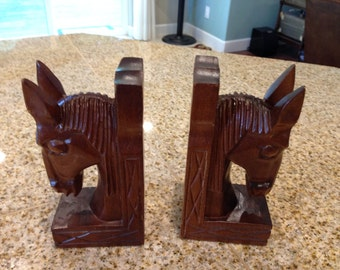 Vintage Equestrian Horse Head Bookend Carved wood mid century modern