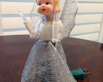 Vintage lighted tree topper Angel with pipe cleaner arms