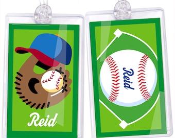 Kid's Personalized Baseball Name Tag Set