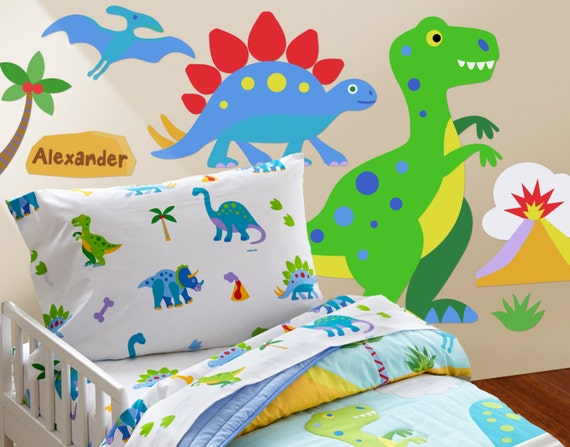 Kids dinosaur land peel and stick jumbo wall mural for Dinosaur land wall mural