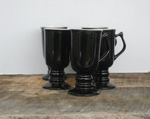 Vintage Hall Shiny Black Pedestal Irish Coffee Mugs Set of 5