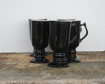 Vintage Hall Shiny Black Pedestal Irish Coffee Mugs Set of 5