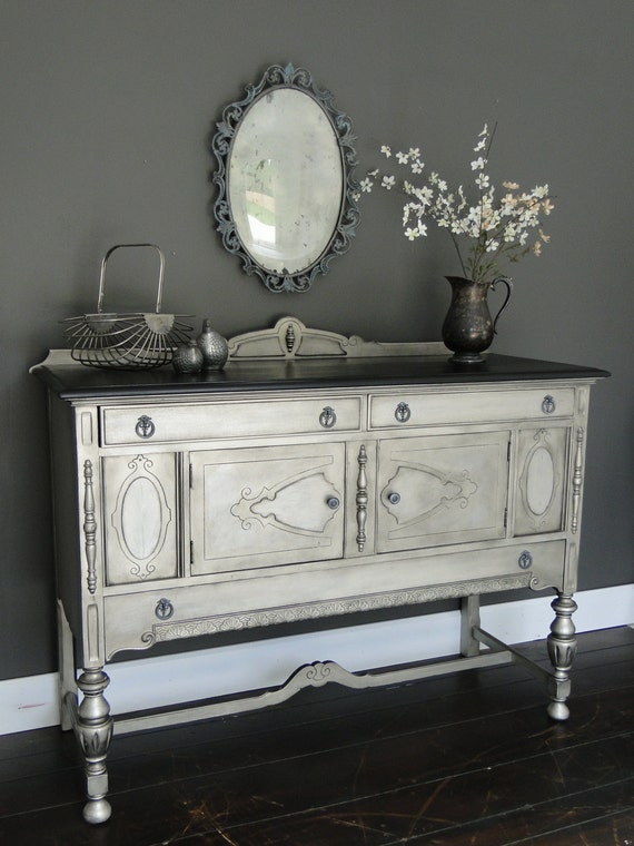 "SOLD*** Vintage Ornate Buffet in Antiqued aged Nickel Silver Black Stained Top ""Tarnished"" Modern Vintage"