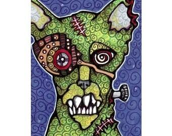 ACEO Original Zombie Gearhead Cat