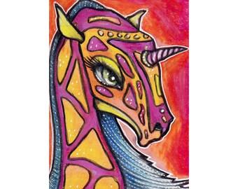 ACEO Original Unicorn Dragon Colored Pencil