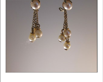 Antique 10k  Yellow Gold Pearl dangle Three Drop Earrings
