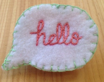 "Repurposed vintage bedding ""Hello"" Brooch in Mint and Coral"