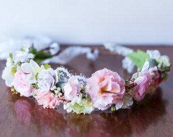 Birthday Flower Crown in Pink - Flowergirl hairpiece - Pink Wedding - Newborn Photo Prop - Wedding Crown - Floral Hairpiece