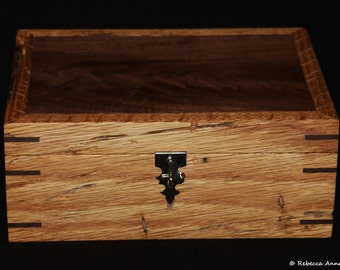 Handmade In America - Wormy Oak And Walnut Keepsake Box