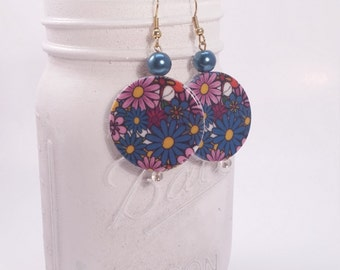 Plastic flower disc and blue Glass Pearl beaded dangle earrings