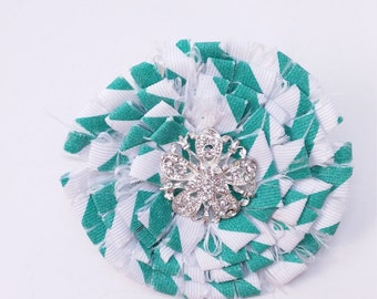 Shabby Chic Christmas Green and White Pin/Brooch