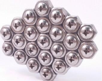 MENS OOAK Hex Nut Belt Buckle with ss screw heads