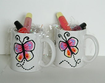 One Multi Colored Butterfly Coffee Tea Mug Cup Hand Painted