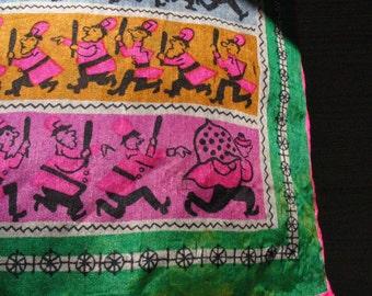 Keystone Cops vintage silk scarf 20s novelty free shipping US