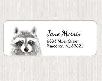 Raccoon Return Address Labels - Stickers - Personalized - Jungle - Animal - Whimsical