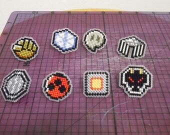 Cross Stitched Johto Pokemon Badges
