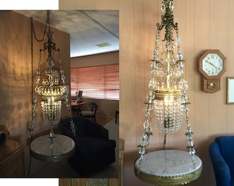 6' Hollywood Regency crystal chandelier hanging table marble glass ceiling fixture crystal prisms plus chain Gustavian French Italian