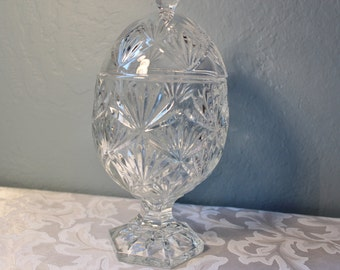 Pedestal Clear Pressed Glass Candy Bowl / Dish Egg Shaped with Lid