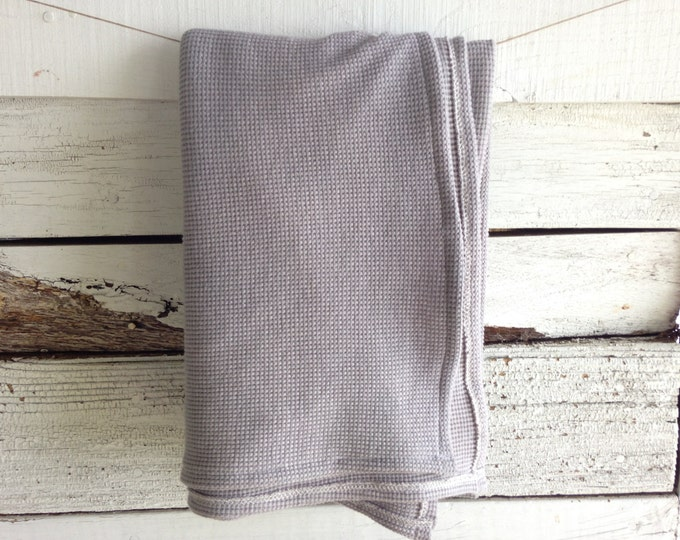 Organic Thermal Cotton Blanket - Light Weight, Hand Dyed, Organic Baby Blanket - Steel Grey