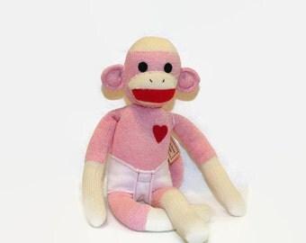 Pinkee Sock Monkey Toy, Sock Monkey Pink Shower Gift, Sock Monkey Pink, Sock Monkey Baby Toy, Pink Monkey, Sock Monkey Child Friendly