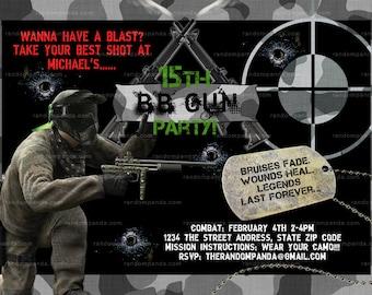 DIY BB Gun Invitation, Combat and Camo, Pellet Gun Party invite