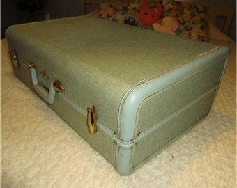 Vintage Samsonite Luggage Weekender Size Mint Green Tweed