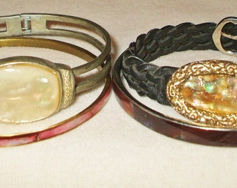 4 Vintage Mother Of Pearl Bracelets, 1 signed Monet