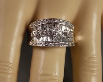 Diamond Cigar Band Ring 1.14Ctw 12mm wide 7.2gm Size 8.25 White Gold 14K Heart Design