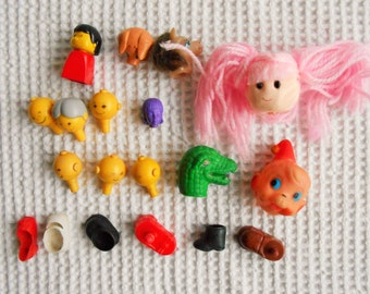 Dolls Heads and Shoes Parts Collection, Bits and Pieces Detash Craft Bag