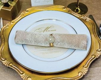 10pcs Gold Napkin Rings, Rhinestone Wedding Napkin Rings Wedding Table Decor Gold Wedding Bling, 544-G-N