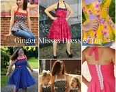 Ginger Misses Vintage Inspired Dress and Peplum Top  PDF Pattern & Tutorial SET, All sizes 0-16 Womens  included.