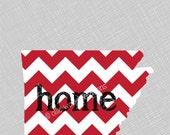 Arkansas Home Print | Red Chevron