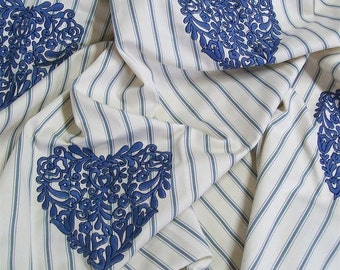 "JAB Four Seasons- Tilbury - pc 53""x44""Blue Embroidered Heart-Luxury Fabric-Free Shipping"