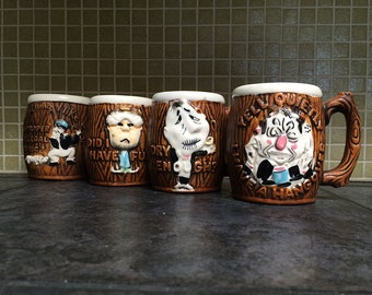 4 Vintage HANGOVER Coffee Cups! Funny Humorous 1950s 1960s Ceramic Mugs Drinking Barware Hillbilly Woodgrain Comic Faces & Phrases Gag Gift