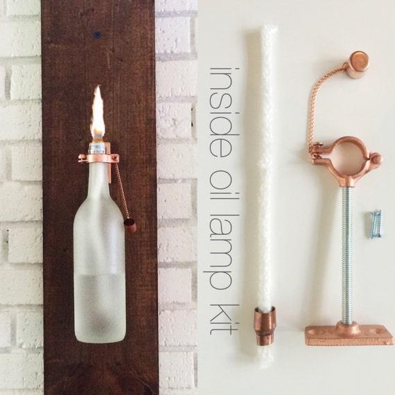 6 HARDWARE ONLY - Wine Bottle Oil Lamp - Christmas Gift idea for Men - Use Your Own Bottles - Hostess Gifts - copper