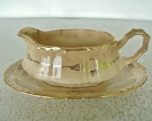 Antique Sauce or Gravy Boat with Underplate Crooksville China Co.