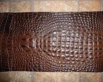 """PRECUT Leather 10""""x18"""" CHOCOLATE with Dark Chocolate (centered) ALLIGATOR/ croc Cowhide #611 2.5-2.75oz/1-1.1 mm E2860-14 PeggySueAlso™"""