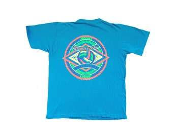 Rad 90s Neon Brooks INT'L Volleyball Puffy Print T-Shirt - L
