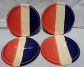 Patriotic Dinnerware, Patriotic Coaster Set, Red White and Blue Coasters, 4th of July Coasters, Patriotic Spoon Rest Set, Red White and Blue