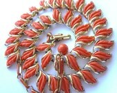 Vintage CORO Necklace Salmon Coral Lucite Leaves 1950s Jewelry Mint Condition