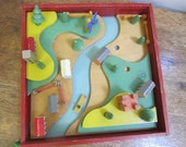 Vintage Wooden Village. Tiger-Toys Petersfield England wooden toy village. Wooden animals, people houses trees.