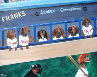 "Dachshund Art Print of an original oil painting- ""Ballpark  Franks"" - baseball-doxie-Dog Art-8 x 10"