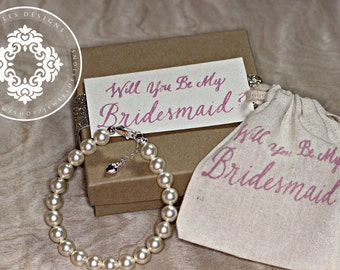 Will you be my Bridesmaid?, Swarovski Crystal Pearl Bracelets, Bridesmaid Bracelets,  Womens accessories, Bridal party, Bridal Accessories,