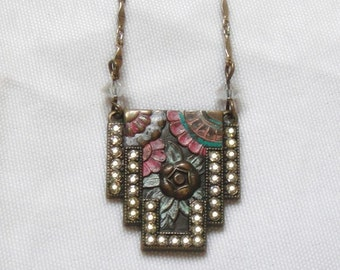 Pididdly Links Floral Rhinestone Necklace - Vintage