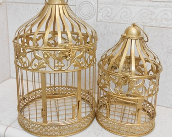 Gold Wedding Birdcage Set / Wedding Card Holder / Birdcage Card Holder / Wedding Card Box / DIY Wedding / DIY Card Box / Gold Birdcages