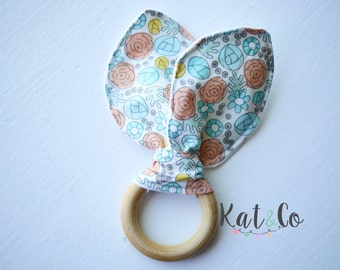 last one!  Organic bunny ear teether ring toy with crinkle material.  Ready to ship.