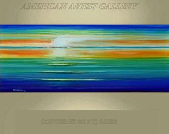 VERY LARGE 24X60 Original Abstract Painting Seascape Sunset Impasto Art  By Thomas John